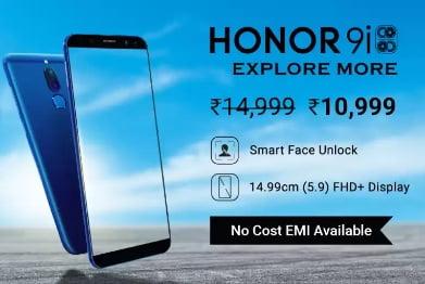 Honor 9i (64 GB, 4 GB RAM) for Rs.10,999 – Flipkart (Valid till 05th Jan)