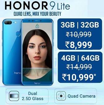 Honor 9 Lite Mobile (32 GB ROM, 3GB RAM) for Rs.8,999 @ Flipkart (Valid till 5th Jan)