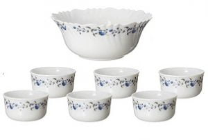 Cello Imperial Opalware Mini Desert Bowl Set, 7-Pieces, White/Vinea for Rs.260 – Amazon