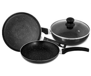 Singer Maxicook Graphite 4 Pcs Induction Base Non-Stick Cookware Set Including Tawa, Fry Pan & Kadai with Glass Lid for Rs.1196