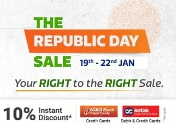 Flipkart Republic Day Sale –  Extra 10% off with ICICI & Kotak Card