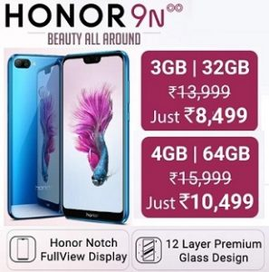 Flat Rs.5500 Off on Honor 9N from Rs. 8,499 – Flipkart