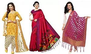 Kanchnar Women's Sarees, Salwar Suits & Dupatta – Minimum 65% off @ Amazon