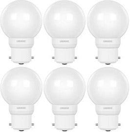 Luminous 0.5 W Round B22 D LED Bulb (White, Pack of 6) for Rs.199 – Flipkart