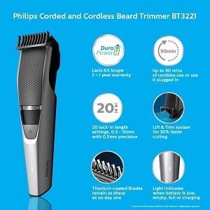 Philips DuraPower Beard Trimmer BT3221/15 – Corded & Cordless, Titanium Blades for Rs.1849 @ Amazon
