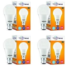 Wipro Garnet Base B22 10-Watt LED Bulb Pack of 4 for Rs.350 – Amazon