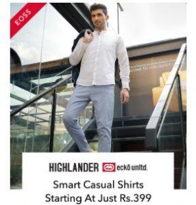 Men's Casual Shirts & Tshirts (Highlander, Locomotive, Ecko Unltd, Wildcraft) – Upto 72% off @ Myntra