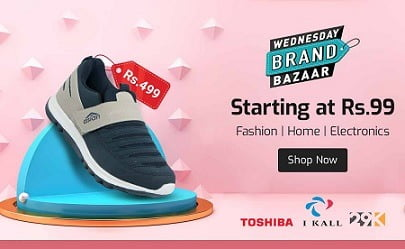 Shopclues Wednesday Bazaar: Fashion, Home Electronics from Rs.99 + Buy 2 Get Extra 30% off