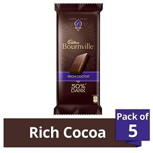 Cadbury Bournville 50% Cocoa Dark Chocolate Bar, 80 gm each (Pack of 5) worth Rs.450 for Rs.249 – Amazon