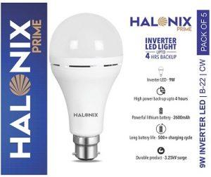 Halonix Rechargeable Inverter LED Bulb B22 9 Watt Pack of 5