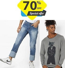 Flat 70% Off on Branded Clothing : Lee, Spykar, Levis, Wrangler, Indian Terrian, UCB, Pepe Jeans & more