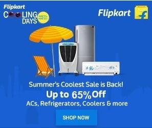 Flipkart Cooling Day: Upto 65% Off on AC, Refrigerator, Coolers