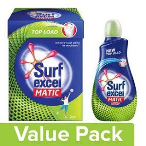 Surf Excel Liquid Detergent – Matic, Top Load Matic Top Load Detergent Powder, Combo 2 Item worth Rs.548 for Rs.298 – Bigbasket