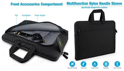 AirCase C18 15-inch to 15.6-inch Laptop Sleeve with Handle, Rugged, Multifunction Bag-Folio worth Rs. 2399 for Rs. 999 @ Amazon