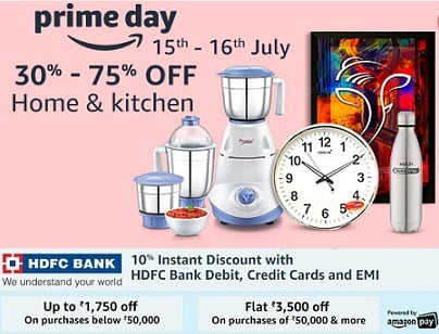 Amazon Prime Day Sale: Get 30% – 75% Off on Home & Kitchen Utilities + Extra 10% off with HDFC Cards