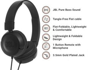 Steal Deal: JBL T450 Wired Headset with Mic (Black, On the Ear) for Rs.1,079 – Flipkart