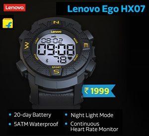 Lenovo Ego Black Smartwatch  (Black Strap Regular) for Rs.1,999 – Flipkart