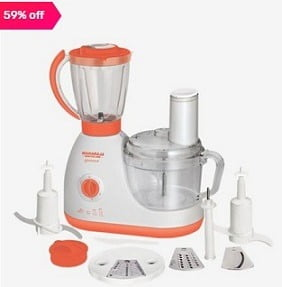 Maharaja Whiteline Glamour 600W 1 Jar Food Processor (Blissful Saffron/White) for Rs.2,899 – Tatacliq