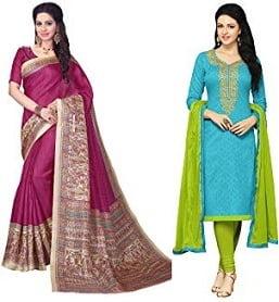 Minimum 75% off on Mrinalika Fashions Sarees & Dress Material – Amazon