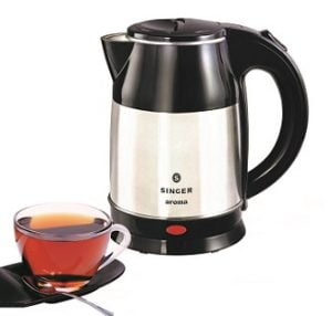 Singer Aroma 1.8-Litre Electric Kettle (Silver/Black) for Rs.639 – Amazon