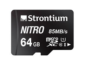 Strontium Nitro 64GB Micro SDXC Memory Card 85MB/s UHS-I U1 Class 10 High Speed for Smartphones Tablets Drones Action Cams  for Rs.599