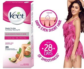 Veet Full Body Waxing Kit for Normal Skin, 20 strips for Rs.145 – Amazon