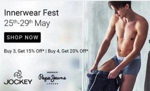Innerwear Fest: Buy 3 get 15% off | Buy 4 get 20% off @ Flipkart