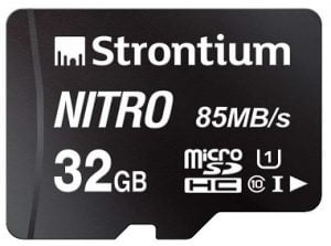 Strontium Nitro 32GB Micro SDHC Memory Card 85MB/s UHS-I U1 Class 10 High Speed for Rs.299 – Amazon