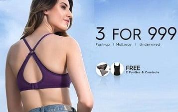 Get 3 Padded Bra + FREE 2 Panties + FREE 1 Camisole for Rs.999 – Clovia