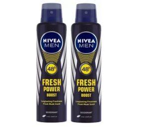 Nivea Men Fresh Power Boost Deodorant Spray (300 ml, Pack of 2) for Rs.189 – Flipkart
