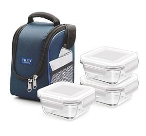 Treo by Milton Health First 3 Pieces Square Container Glass Tiffin, 300 ml, Set of 3 for Rs.599 – Amazon