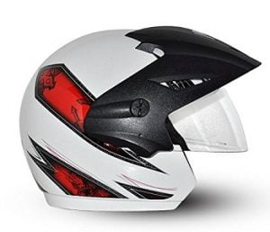 Vega Cruiser CR-W/P-ARS-WR-M Open Face Graphic Helmet (White and Red, M) for Rs.772 – Amazon