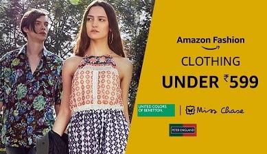 Top Brand Men's / Women's / Kids Clothing under Rs.599 – Amazon