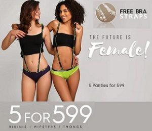 5 Panties for Rs.599 + FREE BRA STRAPS @ Clovia
