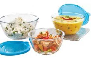 Flat 47% off – Borosil Borosilicate Glass Bowl Set  (Clear, Blue, Pack of 3) for Rs.856 @ Flipkart