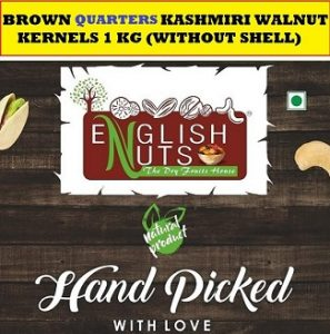 ENGLISH NUTS Quater Brown Kashmiri Walnuts Giri - 1KG ( 4 X 250gm ) VACCCUM Packed