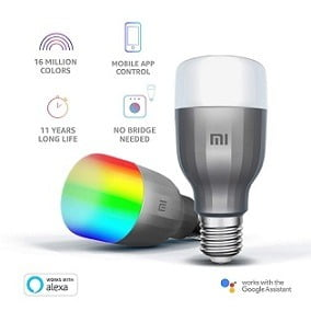 Mi LED Wi-Fi 10W Smart Bulb (White and Color, E27 Base), Compatible with Amazon Alexa and Google Assistant for Rs.1299 – Amazon