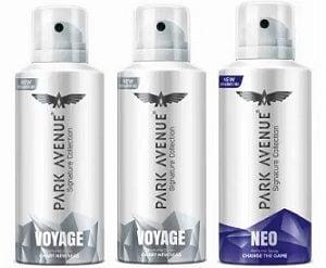 Park Avenue Signature – Voyage, Neo Deodorant Spray – For Men  (450 ml, Pack of 3) for Rs.315 – Flipkart