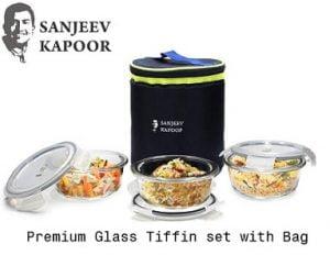 Sanjeev Kapoor Boston Borosilicate Glass Round Lunch Box 3 pcs Set with Bag, 400 ml Each for Rs.699 – Amazon