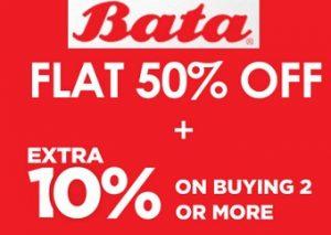Flat 50% + Extra 10% Off on Bata Footwear @ Bata