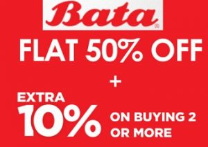 Bata Footwear: Flat 50% + Extra 10% Off @ Bata
