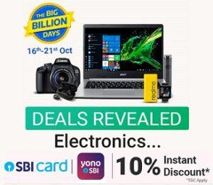 Flipkart Big Billion Days Sale: Electronics (Laptops, Camera & Accessories) – upto 80% off + Extra 10% off with SBI Cards