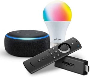 Echo Dot bundle with Fire TV Stick and Wipro 9W Smart Bulb for Rs.4799 – Amazon