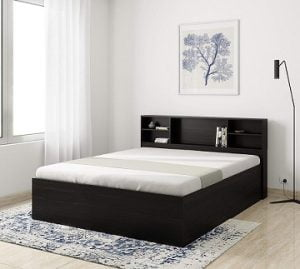 Solimo Mars Engineered Wood Queen Bed with Storage (Walnut Finish) for Rs.15,999 – Amazon