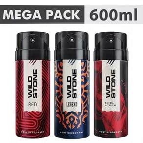 Wild Stone Ultra Sensual+ Red+Legend Combo Deodorant Body Mist – For Men (600 ml, Pack of 3) for Rs. 348 @ Flipkart