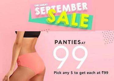 5 Pcs Panties for Rs.495 (Rs.99 each) @ Clovia