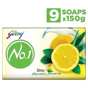 Godrej No.1 Bathing Soap – Lime & Aloe Vera, 150g (Pack of 9) for Rs.180 – Amazon