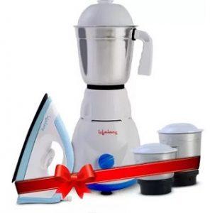 Lifelong LLCMB02 500 W Mixer Grinder (White, 3 Jars) & 1100 W Dry Iron (White, Blue) Super Combo for Men for Rs.1549 – Flipkart