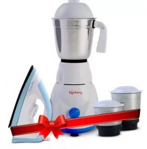 Lifelong LLCMB02 500 W Mixer Grinder (White, 3 Jars) & 1100 W Dry Iron (White, Blue) Super Combo for Men for Rs.1549 – Flipkart