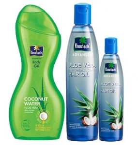 Parachute Advansed Aloe Vera Kit (Aloe Vera Enriched Coconut Hair Oil, Aloevera Body Gel and Free 75ml Aloevera Hair Oil) for Rs.247 – Amazon